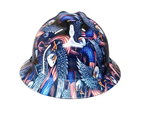 Izzo Graphics Eagle Flag MSA V-Guard Full Brim Hard (Full Graphics Hard Hat)