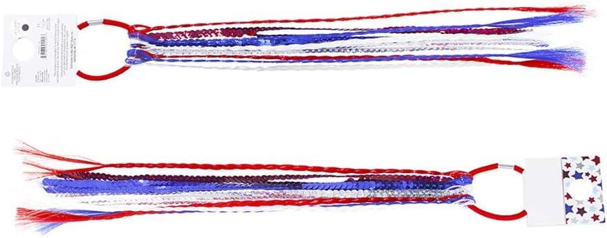 Amosfun 2 unids Bandera Americana Lazos para el Cabello Titular de Cola de Caballo 4 de Julio Accesorios para el Cabello patriótico para niñas Mujer Dama