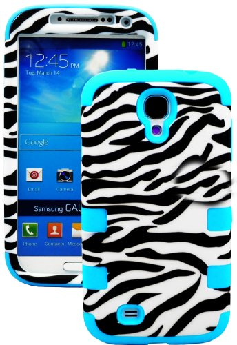 "myLife Electric Sky Blue - Zebra Stripes Print Design (3 Piece Hybrid) Hard and Soft Case for the Samsung Galaxy S4 ""Fits Models: I9500, I9505, SPH-L720, Galaxy S IV, SGH-I337, SCH-I545, SGH-M919, SCH-R970 and Galaxy S4 LTE-A Touch Phone"" (Fitted Front and Back Solid Cover Case + Internal Silicone Gel Rubberized Tough Armor Skin)"