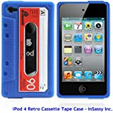 Blue/Red Silicone Cassette Tape Case for Apple iPod Touch 4 4th Generation