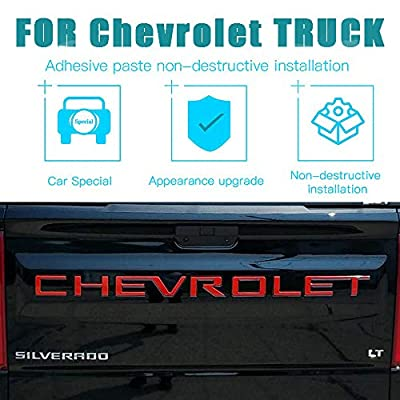 KENPENRI Tailgate Insert Letters for 2020 2020 Chevrolet Silverado - 3M Adhesive & 3D RaisedTailgate Letters - Gloss Red: Automotive