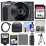 Cheap Canon PowerShot SX620 HS Wi-Fi Digital Camera (Black) with 64GB Card + Case + Flash + Battery + Tripod + HDMI Cable + Kit