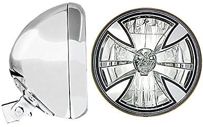 "Adjure (HB77010-XSR) 7"" Universal Headlight Bucket with T70X00-SR Iron Cross Skull Headlamp"