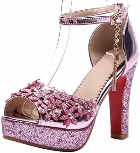 3db4f9411b66 Mofri Women s Trendy Sequined Buckle Ankle Strap Peep Toe Sandals Studded  Flowers Platform Chunky High Heels