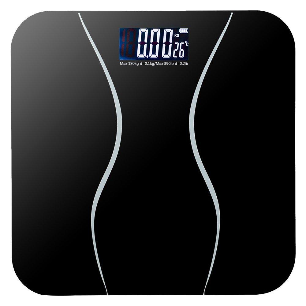 Digital Body Weight Scale, 180Kg Slim Waist Pattern Personal Scale, Electronic Floor Scales Smart Bathroom Digital Balance Toughened Glass Hd Led Display -Black