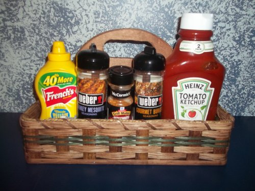 Amish Handmade Condiment Carrier. What a Wonderful Way to Carrier Your Condiments to a Bbq, Picnic or Just to Sit on Your Table At Dinnertime. This Basket Is a Stunning Way to Transport Your Condiments to Whatever Social Event You Are Attending. Accent Colors May Vary (Green, Blue, Red, Natural, Black) Measures: 14