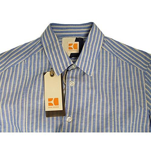 Hugo Boss 50195408 da uomo, maglietta a manica lunga, colore: giallo/blu, SRP £ 135