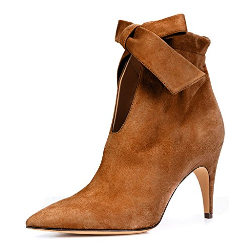 Low Heel Pointy Toe (XYD Classical Pointy Toe Ankle Booties Dress Low Kitten Heel Graceful Boots for Women Size 13 Coffee)