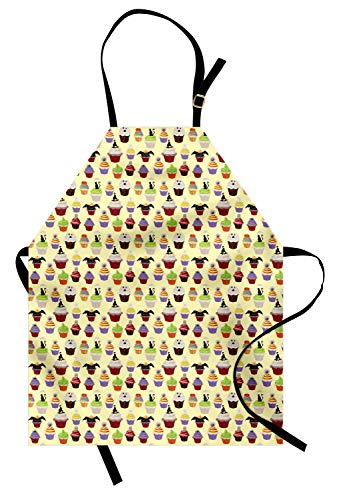 Ambesonne Cupcake Apron, Halloween Themed Delicious Scary with Cat Bat Ghost Frosting Holiday Season Cakes, Unisex Kitchen Bib Apron with Adjustable Neck for Cooking Baking Gardening, Multicolor -