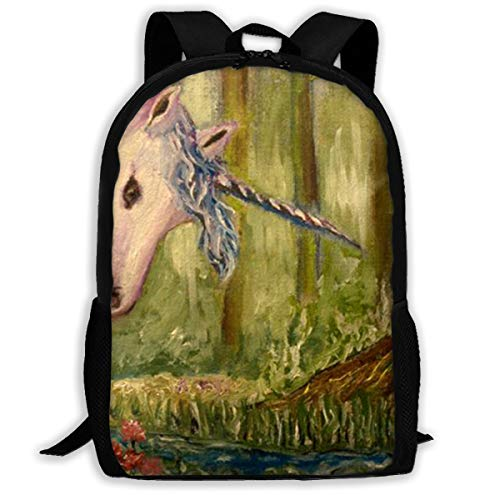 LoveBea Backpack White Unicorn in A Magical Forest Mens School Campus Backpack Vintage Gift