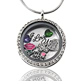 AmandaLynn Mother's Day Silver Medium Floating Locket Living Locket Necklace with Charms Stainless Steel Gift Set
