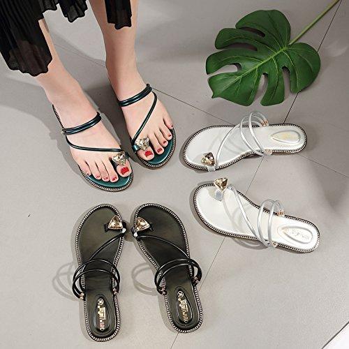 ITTXTTI Sandalen Damenschuhe Damenschuhe Damenschuhe Weiblichen Sommer 2018 Damen Flachen Boden Zwei Tragen Strass Sandalen Mode Tragen Outdoor-Wohnung mit Strand Schuhe 9f0727