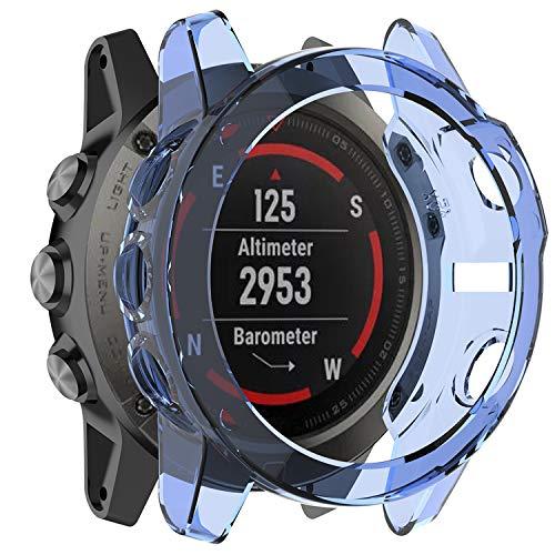 Fit for Garmin Fenix 5X Case, Stylish Silicone Protector Case Bumper Sleeve Shell Frame Protective Cover Accessories for Garmin Fenix 5X Smartwatch Women Men (Blue)