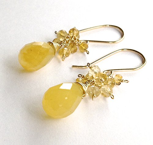 (Yellow Jade and Citrine Drop Earrings in 14k Gold Filled)