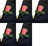 Set of 5 Coral Rose Boutonniere with Pin for Prom, Party, Wedding ...