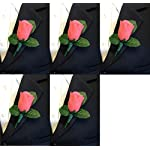Set-of-5-Coral-Rose-Boutonniere-with-Pin-for-Prom-Party-Wedding-