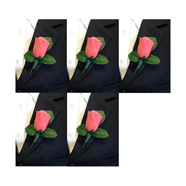 Angel Isabella Set of 5 Coral Rose Boutonniere with Pin for Prom, Party, Wedding ...