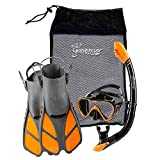 Seavenger Diving Dry Top Snorkel Set with Trek Fin, Single Lens Mask and Gear Bag, L/XL - Size 9 to 13, Gray/Black Silicon/Orange