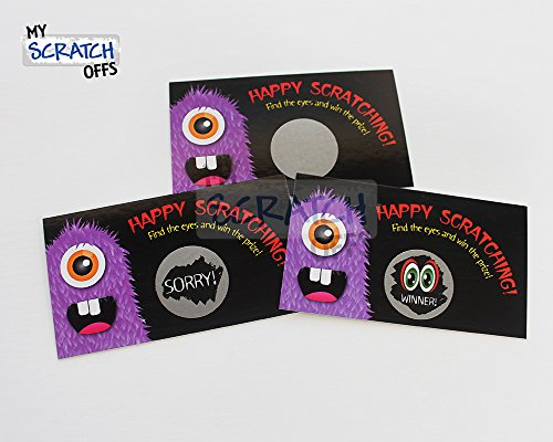 Spooky Monster Funny Halloween Scratch Off Game Card Set 25 Cards (24 Sorry 1 Winner), Kit for Kids School Party Favors, My Scratch Offs -