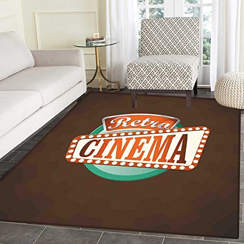 Movie Theater Floor Mat Pattern Retro Style Cinema Sign Design Film Festival Hollywood Theme Living Dinning Room & Bedroom Mats 5'x6' Brown Turquoise Vermilion -