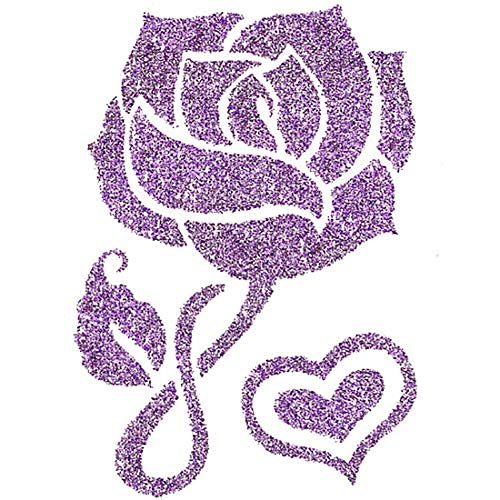 Irvint & Co Sugar Style Glittered Temporary Tattoos Sparkling Purple Flower & Heart Hands Arms Sleeves Neck Chest Fake Temporary Tattoos Stickers -