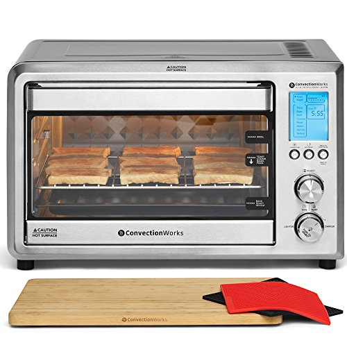 ConvectionWorks Hi-Q Intelligent Countertop Oven Set, 9-Slice XL Convection Oven Toaster w/Bamboo...