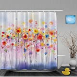"Watercolor Art Painting Colorful Flowersl Bathroom Shower Curtains Beautiful Spring Landscape Shower Curtain Mildew And Fade Resistant Waterproof Polyester Fabric 72""x72""Inch"