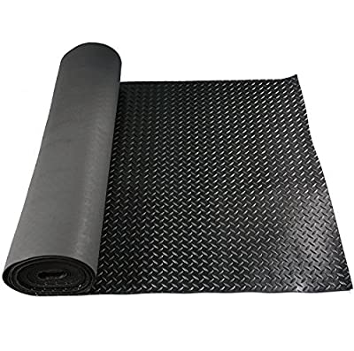 Hefty Mat Anti-slip rubber sheet roll with Diamond sheet for operation platform,passage,storage ground,power station,road and bridge, Black, 3.2 feet ×16 feet ×1/10 inch