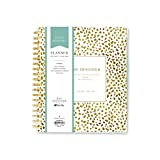 """Day Designer for Blue Sky 2017-2018 Academic Year Daily & Monthly Planner, Twin-Wire Bound, 8"""" x 10"""", Gold Spotty Dot"""