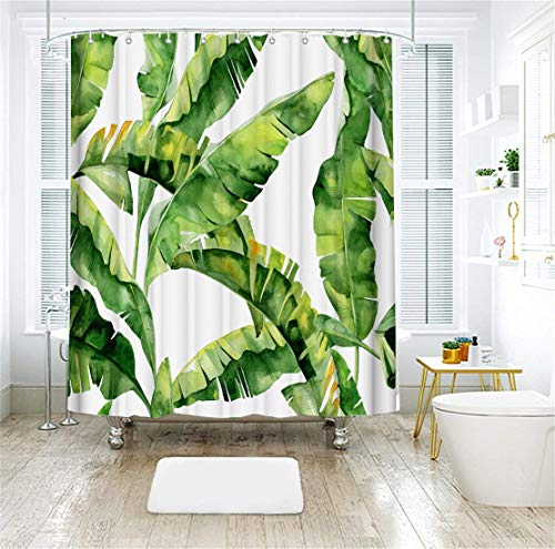 LIVILAN Shower Curtain Set with 12 Hooks Tropical Plant Banana Leaf Print Bath Curtain Home Decorations Fabric Home Curtain Machine Washable Privacy Curtain 72 X 72 inch, Green]()