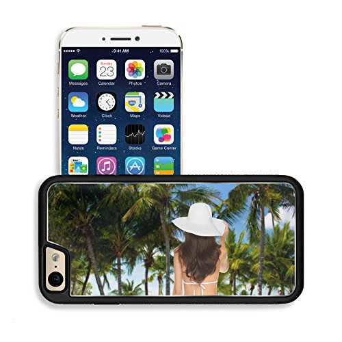 Luxlady Premium Apple iPhone 6 iPhone 6S Aluminium Snap Case vacation and summer concept model posing in white bikini with hat IMAGE 26353511