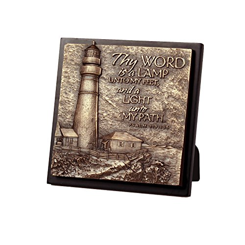 Lighthouse Christian Products Moments of Faith Small Square Lighthouse Sculpture Plaque, 5 3/4 x 5 3/4