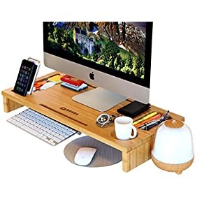 Royal Craft Wood Monitor Stand Riser with Storage Organizer Bamboo
