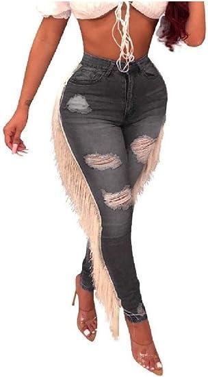Romancly 女性のリッピング穴スリムフリンジスキニー伸縮性のある穴ジーンズパンツ