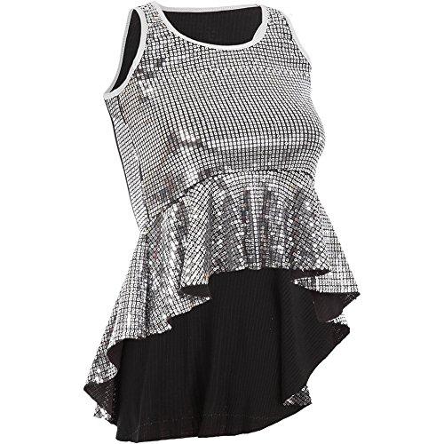 [Gia-Mia Dance Big Girls' Sequin Peplum Tank Dance Jazz Costume Performance Team, Silver, L] (Dance Team Costume Tops)