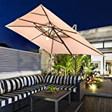 Abba Patio 9 by 12-Feet Cantilever Solar Lights Patio Hanging Umbrella with Cross Base, Beige