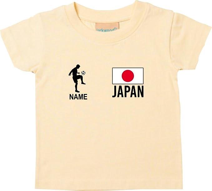 Shirtstown Kids Camiseta Camiseta de Fútbol Japón con Su Nombre Deseado Estampado - Amarillo Claro,