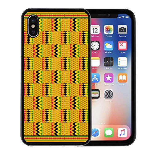 - Semtomn Phone Case for Apple iPhone Xs case,Green Ghana Kente Zig Zag Path of Life and Puff Adder Variation Patterns Red Africa for iPhone X Case,Rubber Border Protective Case,Black