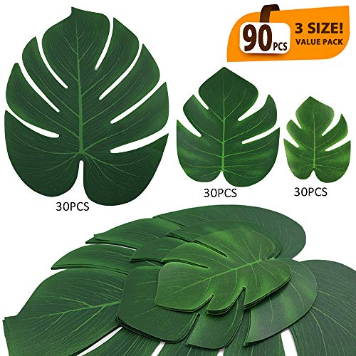 ElaDeco 90 Pcs Artificial Tropical Palm Leaves Luau Party Decoration Monstera Fake Large Green Leaf for Hawaiian Luau Party Decorations Jungle Beach Birthday Theme BBQ Party Supplies (3 Size) -