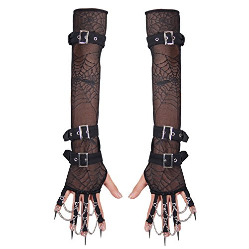 Weather Related Halloween Costumes (Steampunk Victorian Lace Fingerless Gloves Arm Warmer Bracelet Halloween Costumes)