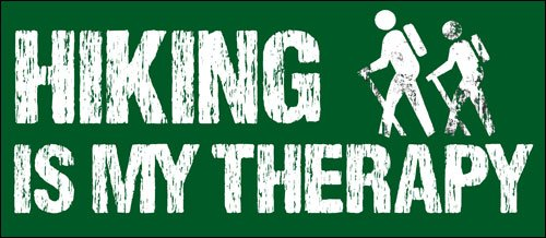 American Vinyl Hiking is My Therapy Bumper Sticker (Hike Hiker Decal)