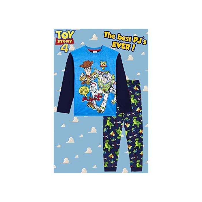 51TJfq2ALBL ✔ PIJAMAS DE TOY STORY --- Este conjunto de pijama de 2 piezas viene con una camiseta azul de manga larga que presenta a tus personajes favoritos de Toy Story 4, Buzz Lightyear, Woody y Forky con pantalones largos a juego. Estos pijamas son son perfectos tanto como ropa de dormir como para estar en casa jugando. ✔ TALLAS DISPONIBLES --- Nuestros magníficos pijamas niños de Toy Story están disponibles en tallas para edades: 18/24 meses, 2/3 años, 4/5 años, 5/6 años, y 7/8 años. Pida la talla que adquiere normalmente en las tiendas y no tendrá problemas. 100% Algodón