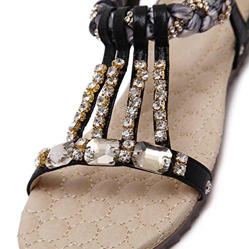 Sandales Été Perles Noir Strass Plat Bohème Toe Plage Bigtree Femmes Peep De Brillant 8Egqdg