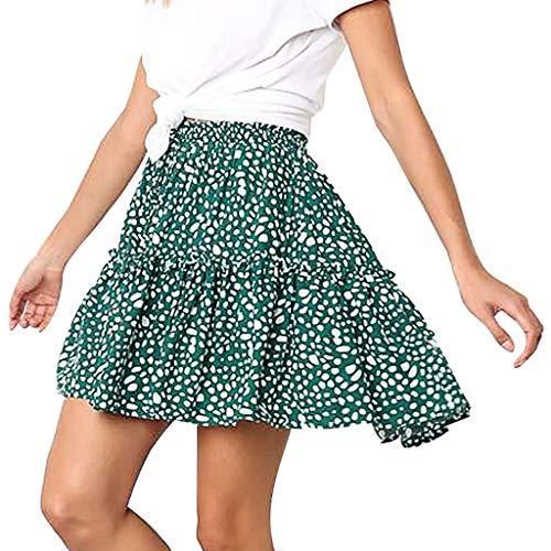 Zlolia Women's Polka Dot Pleated Short Skirt Ruffled Lace-Up A-Line Short Dress Green -
