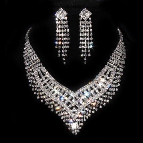 Amazoncom 1 X Wedding Jewelry Sets Silver Cz Crystal Rhinestone
