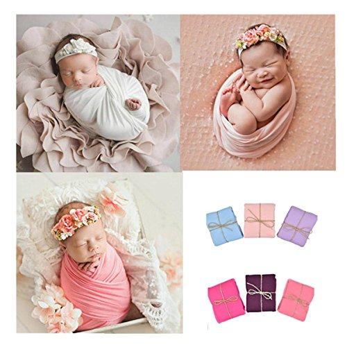 Gauze Purple (Sunward Newborn Baby Photo Props Blanket Stretch Without Wrinkle Wrap Swaddle for Boys Girls Photography Shoot (Purple))