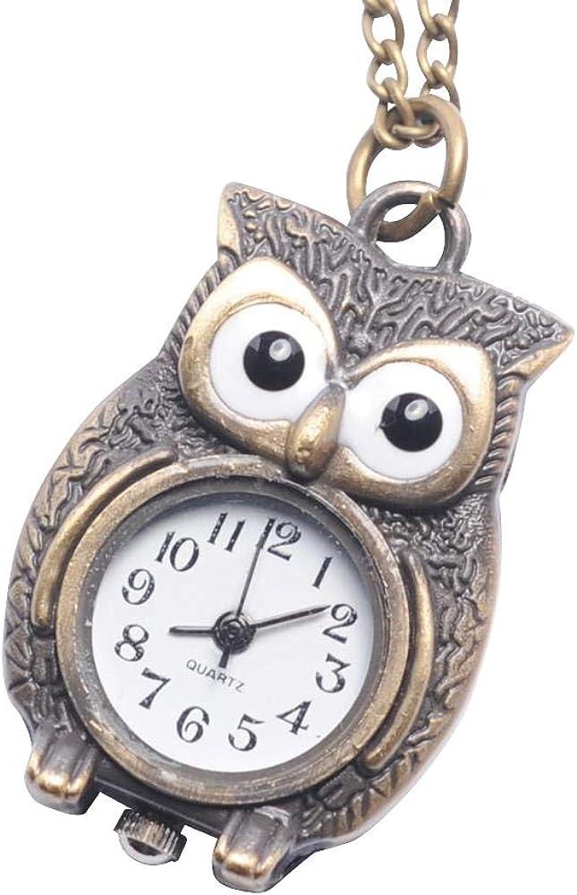 81stgeneration Collar Colgante Reloj de Bolsillo Analógico Cuarzo Estilo Antiguo Búho Mujer Latón, 78 cm