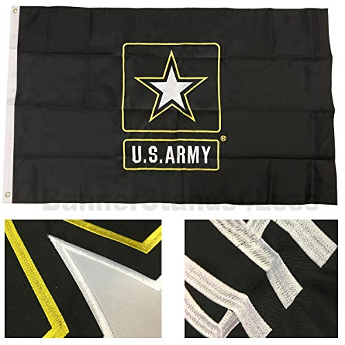 (U.S. Army Star Logo - ( 3 by 5 Foot 3x5 Ft ) Strongest Embroidered Double Sided 210D Nylon, Double Sewn Stripes and Brass Grommets, UV Protected, Double Decker U.S. Flags Military)