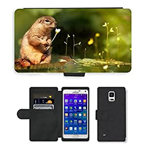 Hot Style Cell Phone Card Slot PU Leather Wallet Case // M00110411 Squirrel Water Lily Flower // Samsung Galaxy Note 4 IV