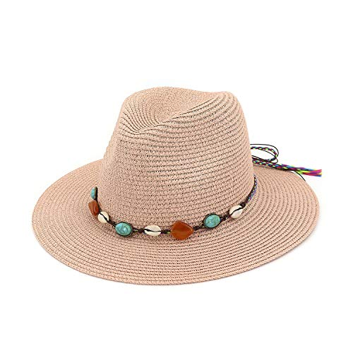 Summer Straw Sun Hat Adult Boho Beach Pendant Hat Sunhat Trilby Women Hat Blue Pink Cap Knitting Rope Sunhat Harajuku,Pink,Adjustable